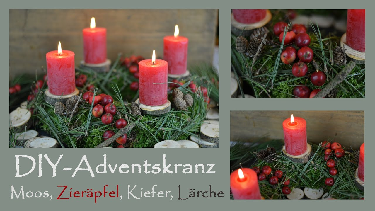 diy adventskranz selber machen in rot i aus moos kiefernnadeln l rchenzapfen zier pfeln. Black Bedroom Furniture Sets. Home Design Ideas