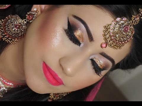 Gold Smokey Eyes And Bright Pink Lipstick