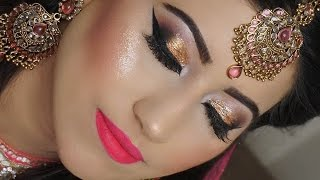 Real Bride | Engagement/Nikaah Asian Bridal Makeup | Gold Smokey Eyes And Bright Pink Lipstick