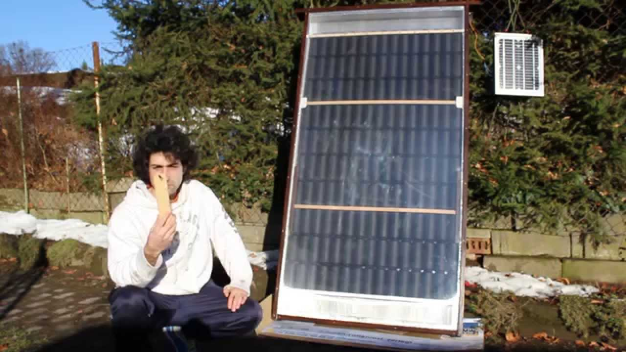 solar luftkollektor mit solarmodul und ventilator youtube. Black Bedroom Furniture Sets. Home Design Ideas