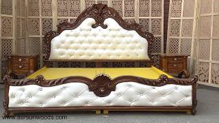 46 King Size Bed Royal Bedroom Furniture Hand Carved Aarsun Art Of India Youtube