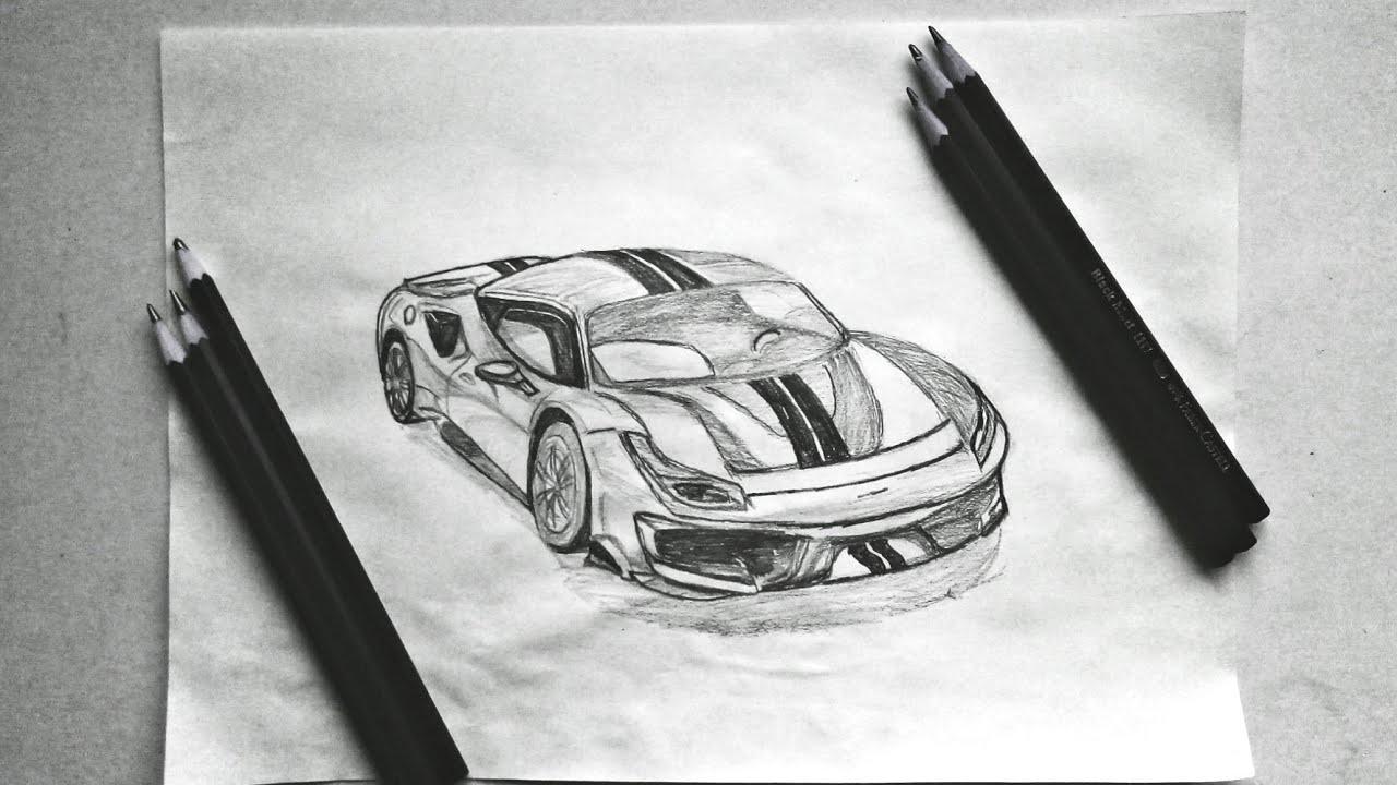 Drawing Ferrari 488 Pista Spider