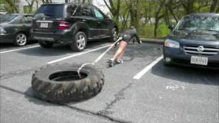 Tire Dragging for a KIller Leg Workout - How to get Strong Legs w/ Bad Knees - Spartan Training