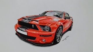How to draw a Ford Mustang Shelby GT500 - Super Snake - 3D Art - Speed Drawing by Rui Gouveia