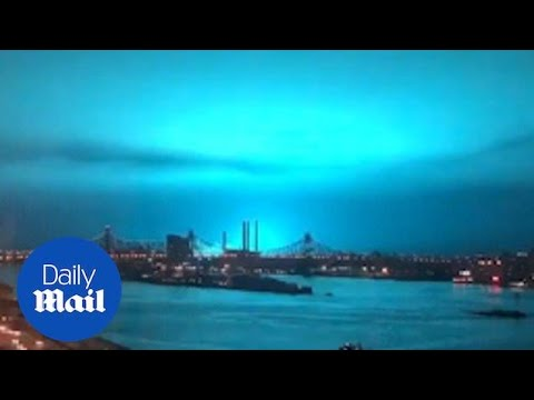 New York skyline turns BRIGHT BLUE after power plant explosion
