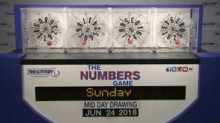 Midday Numbers Game Drawing: Sunday, June 24, 2018