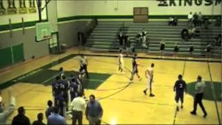 white high school basketball player breaks backboard with dunk