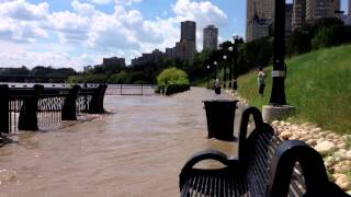 Flooding at Louise McKinney Riverfront Park in Edmonton, Alberta, Canada: Closer View Thumbnail
