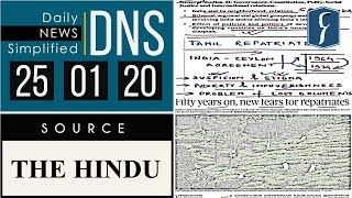 Daily News Simplified 25-01-20 (The Hindu Newspaper - Current Affairs - Analysis for UPSC/IAS Exam)