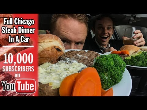 Eating a Full Chicago Steakhouse Dinner in a Car | 10,000 Subscriber Bonus Video