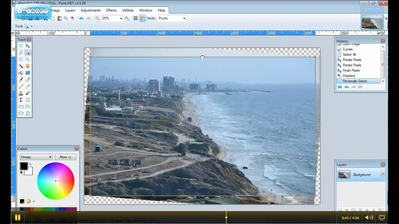 How to straighten and crop an image in Paint Net