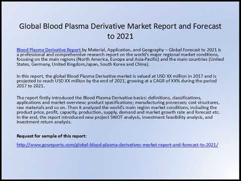 Global Blood Plasma Derivative Market Reportsand Forecast to 2021