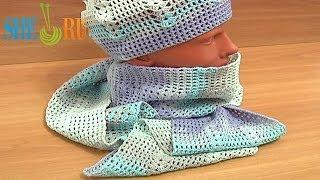 Вязание шапочки и шарфа Урок 4 часть 2 из 3 Сzapeczka szydełkowa krok po kroku
