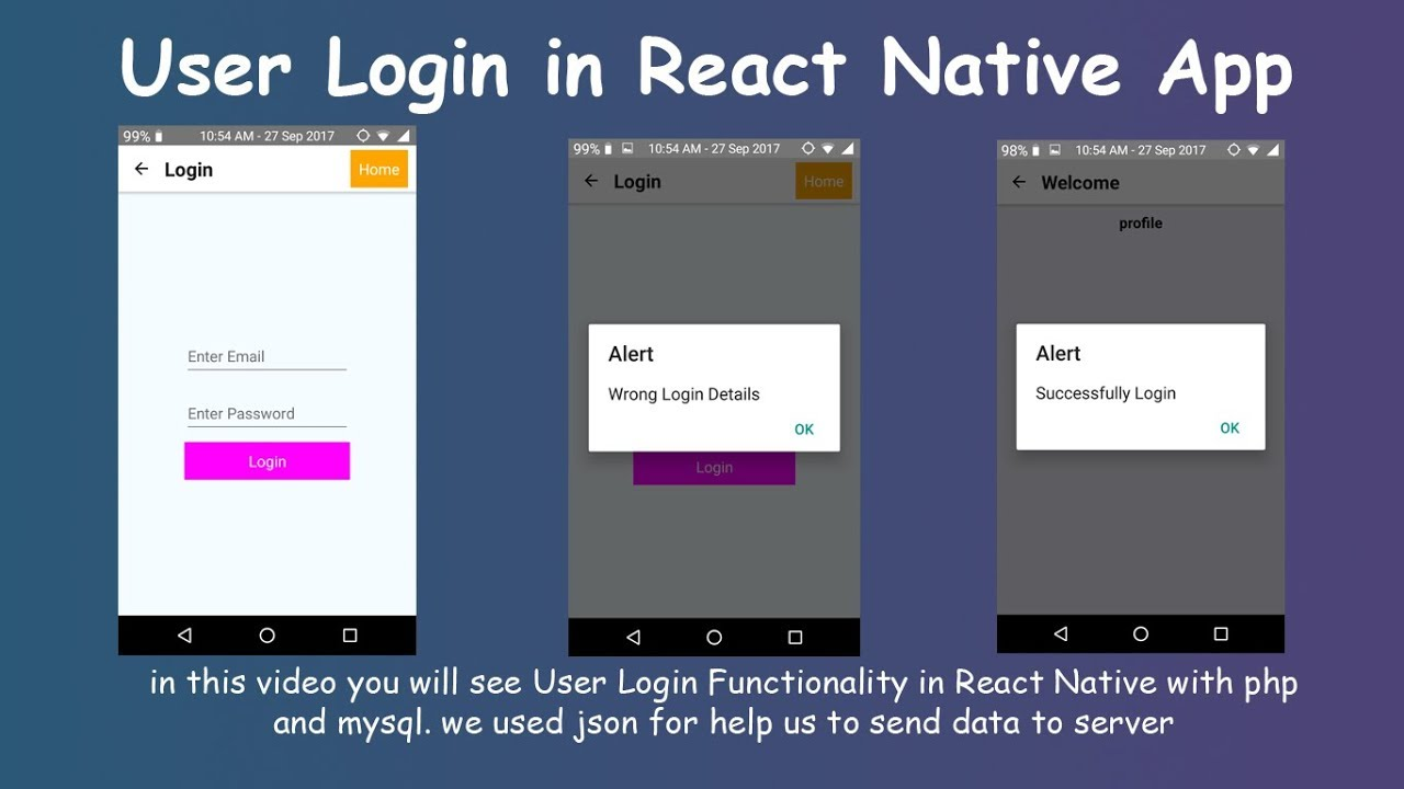 User Login Functionality || React Native Login with php and MySQL