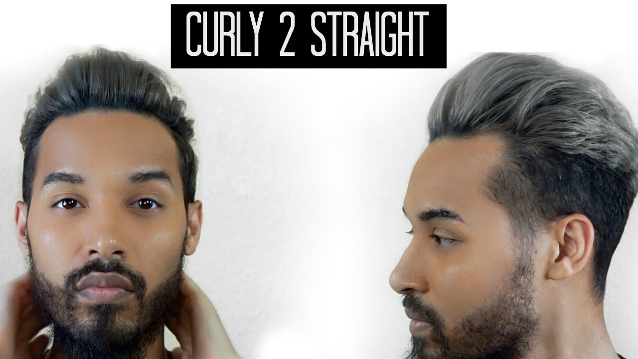 Curly To Straight Men S Hair Tutorial Youtube