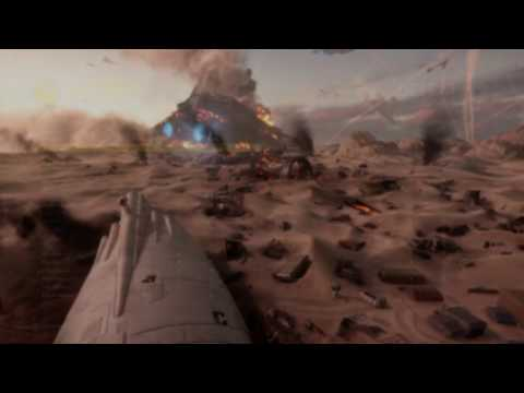 Battle of Jakku - SWBF AT-AT destruction and Superstar destroyer crash