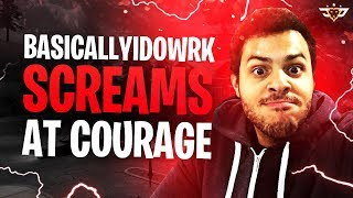 BASICALLYIDOWRK SCREAMS AT COURAGE! HE WAS ACTUALLY MAD! (Fortnite: Battle Royale)