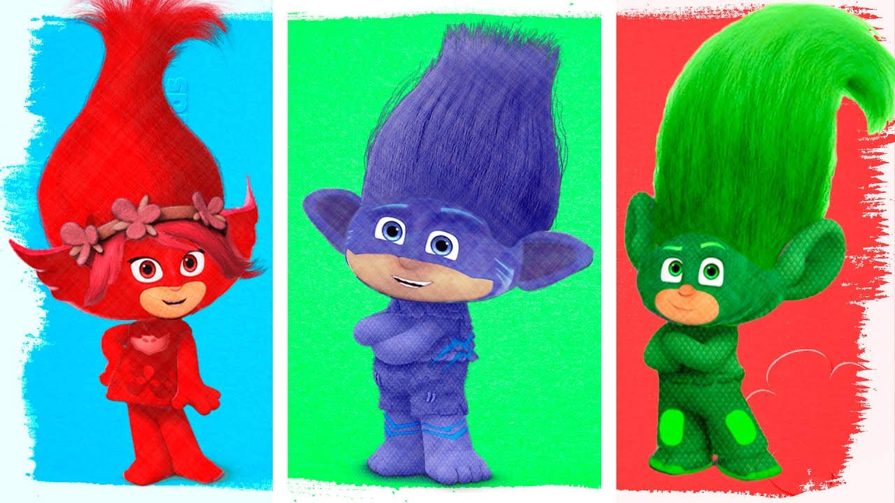 PJ Masks as Trolls Fun Coloring Pages Learn Colors