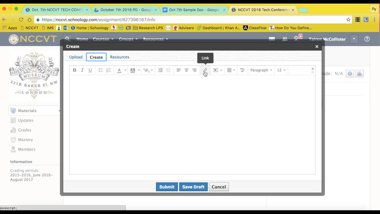 how to submit a link from googledocs to schoology youtube
