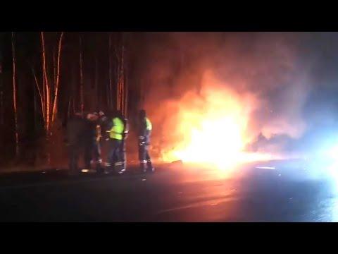 На автодороге Сургут - Нефтеюганск сгорел автомобиль. ХМАО