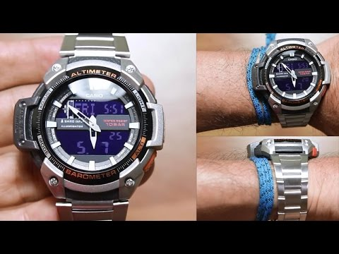 cf3afc10109 Casio Outgear SGW-450HD-1B  Stainless steel + 2 sensors - YouTube