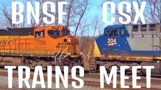 BNSF Train Meets CSX Train Head On