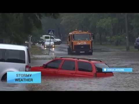 Odesa Storm: Heavy rain floods city streets