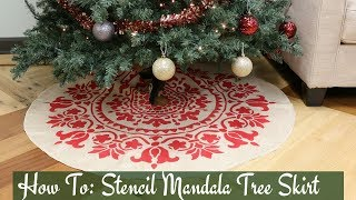 Christmas Tree Skirt DIY Using a Mandala Stencil