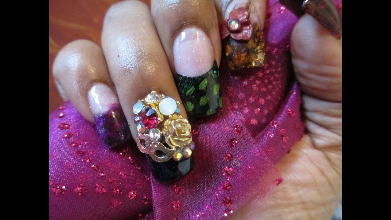 Mardi Gras Acrylic Nails - YouTube