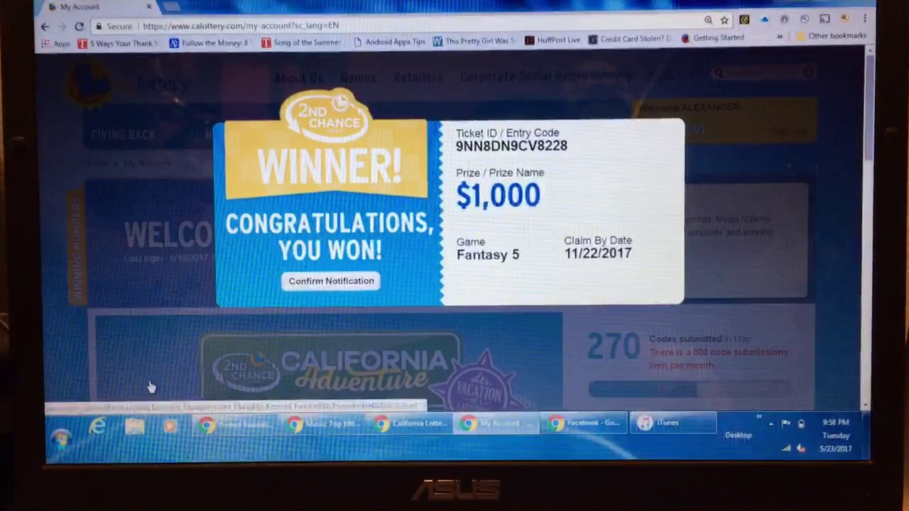 California Lottery Fantasy 5 - 2nd Chance $1,000 Winner