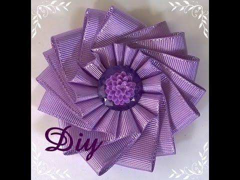 Flor de fita de gorgurão DIY \ Ribbon...