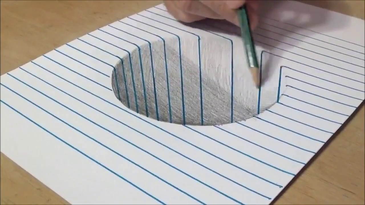 3d Line Drawing Game : Very easy how to draw a d round hole on line paper