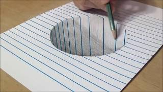 Very Easy! How to draw a 3D Round Hole on Line Paper!