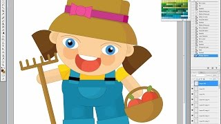 Illustrating drawing painting - how to draw cartoon gardener girl