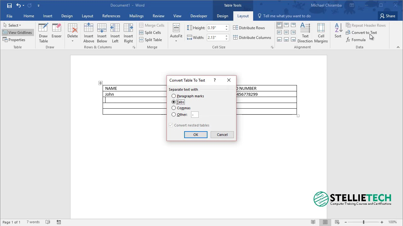 How To Convert A Table To Text In Word 2016 Tip 4