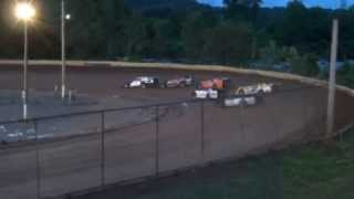 Legendary Hilltop Speedway Late Model Heat #1 Danny Thomas, Tanner Hendrix Crash 7-5-2013