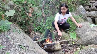 Primitive Technology - Found nest of bird eggs and cooking inside bamboo tube by Beautiful Girl