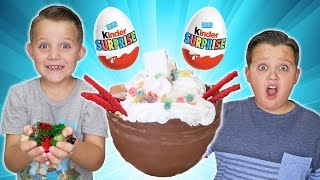 Chocolate Surprise Egg Giant Ice Cream Sundae Challenge! Kids Eat Real Food - Candy Challenges!
