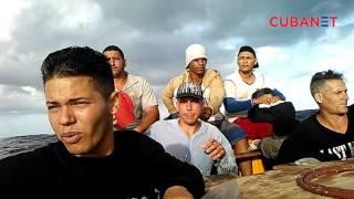 Balseros cubanos graban su travesía