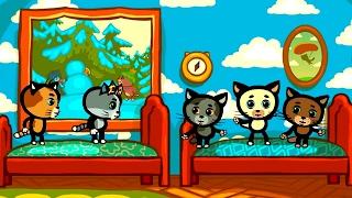 Песенки для котят - Котятки упали с кроватки | Считалочки - Три котенка | Мультик для малышей