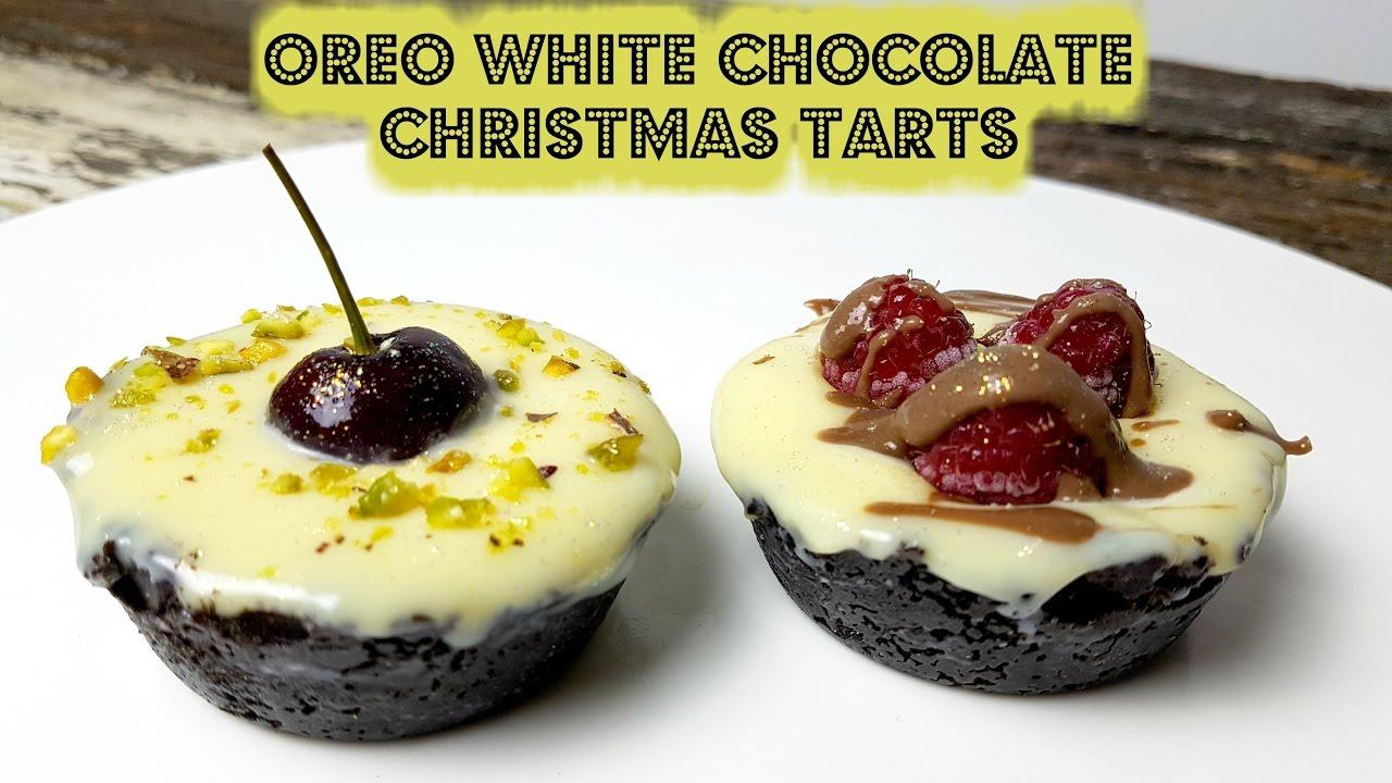 Oreo White Chocolate Christmas Tarts Cookingwithkarma