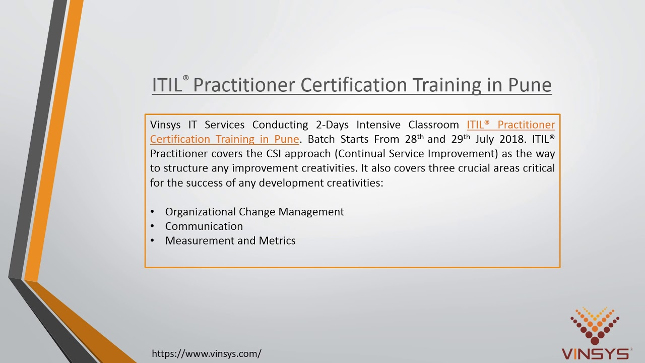 Itil Practitioner Certification Training Course In Pune By Vinsys