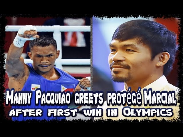 MANNY PACQUIAO GREETS PROTÉGÉ EUMIR MATCIAL AFTER FIRST WIN IN OLYMPICS GAMES TOKYO 2020