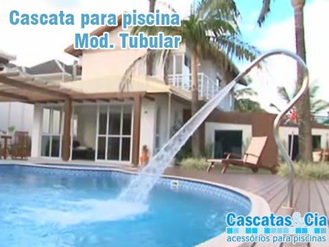 Cascata em inox para piscina modelo splash tubular for Modelos de piscinas cuadradas