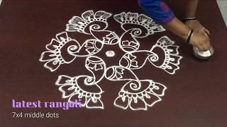 latest flower rangoli design with 7x4 dots || latest simple flower kolam designs ||
