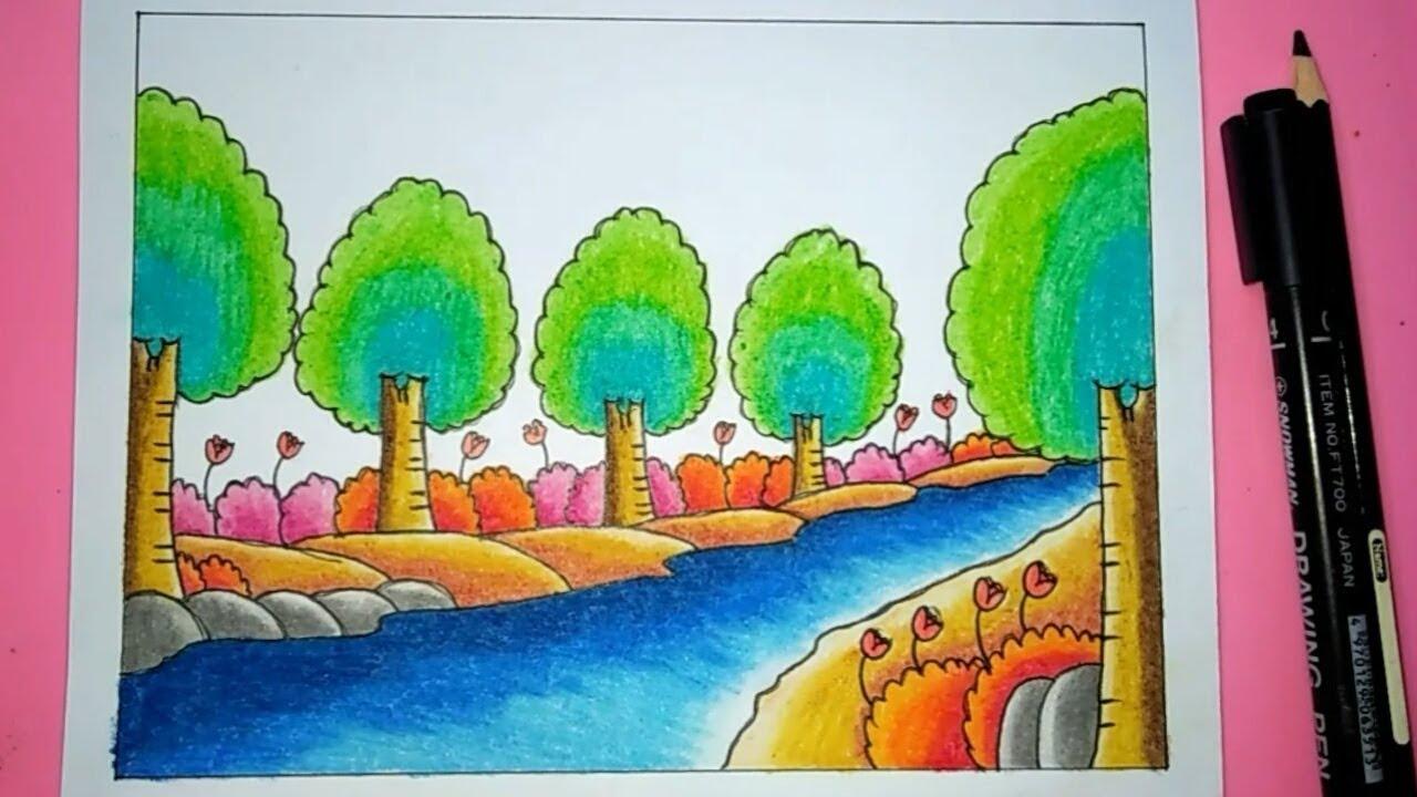 Cara Menggambar Pemandangan Sungai Mudah Sekali