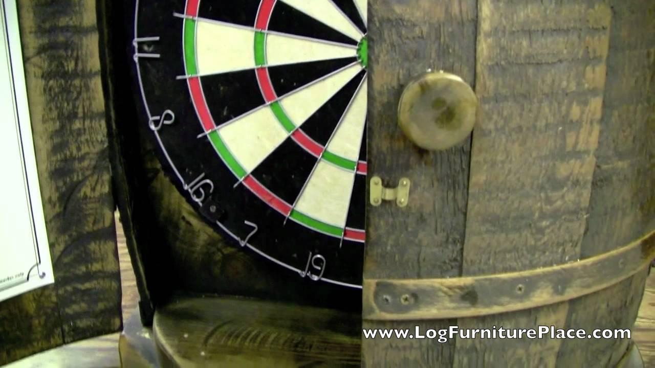 Rustic Whiskey Barrel Dartboard Cabinet from