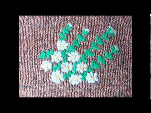 вышивка на вязаном полотне видео