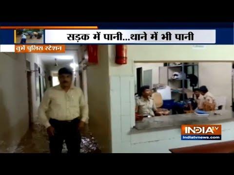 Heavy Rain Leads to Waterlogging Inside Police Station in Navi Mumbai