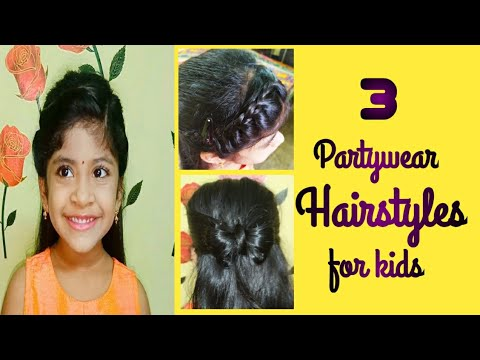 Partywear hairstyles for kids  3 different easy hairstyles in Telugu  Ismart Homemaker - YouTube